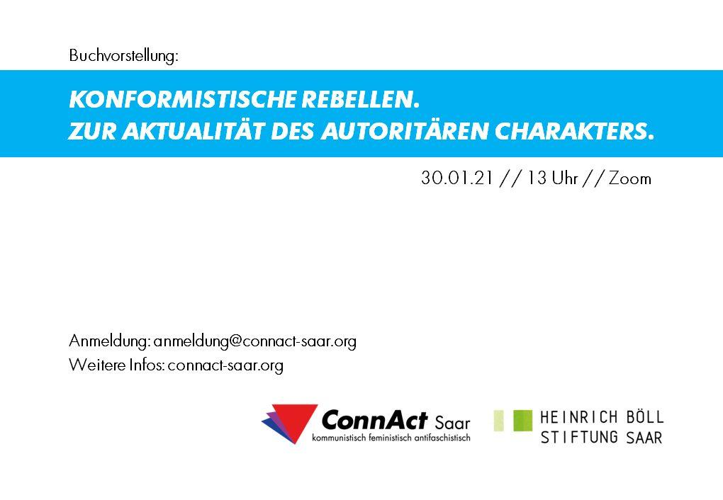 Buchvorstellung am 30.01.21 um 13 Uhr: Konformistische Rebellen. Zur Aktualität des autoritären Charakters.